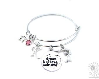 Gymnastics Gifts, Gymnastics Jewelry, Gymnastics Bracelet, Gymnast Gifts, Gymnastics Bangle