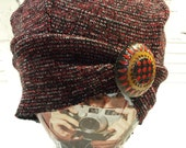 Winter Sweater Knit Hat, Slouch Knit Hat, Recycled Sweater Knit Cap