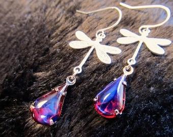 Art Nouveau Ruby Earrings Dragons Breath Opal Earrings Silver Art Deco Earrings Sterling Earrings Dragonfly Earrings Red Earrings- Flight