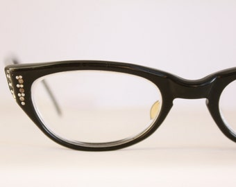 Vintage 50's Damaged Black Rhinestone Cat Eye Eyeglasses Readers