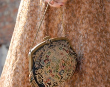 Victorian purse, cherub petit point, jewels, small needlepoint wristlet, floral antique