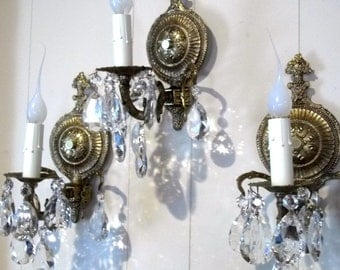 Set Of Three Brass Crystal Lighted Wall Sconces Spanish Style Matching