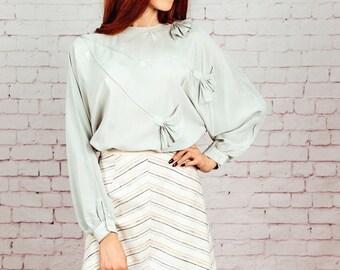 Chevron skirt, A line skirt, 1970s 60s skirt, striped skirt,Medium, White,Cream,beige
