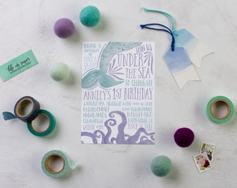 UNDER THE SEA invitation - mermaid birthday invite - summer birthday party - birthday party invitation