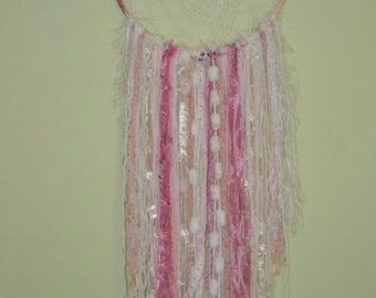 Dreamcatcher -  Wall Hanging - Home decor -  Gypsy - Boho - Perle Pink  - using novelty yarns hanging down, beads and crystal.