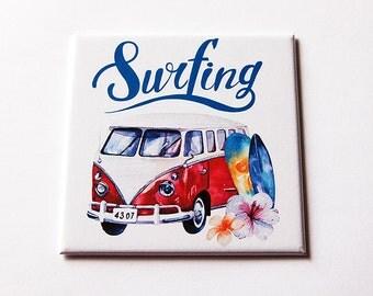 Surfing magnet, Magnet, Fridge magnet, magnet for surfer, Stocking stuffer, Beach magnet, Gift for surfer, Surfboard, Tropical magnet (5800)