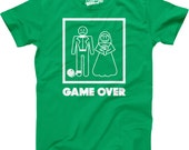SALE Mens Game Over GREEN T-Shirt funny, wedding, bachelor party, hubby, newlywed, gift for wedding, 1st anniversary gift for husband S-5Xl