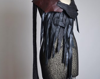 Goth Leather Blouse - Leather Tunic Top  - Leather Clothing - Black Leather Tunic - Steampunk - Leather Top