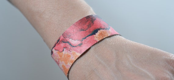 Abstract Leather Cuff Bracelet - Leather Cuff Bracelet - Leather Cuff - Summer Accessories - Pink Leather Cuff