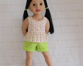 "White Peplum Top Green Shorts - Dolls clothes for 20"" Australian Girl doll"