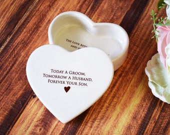 Mother of the Groom Gift - Heart Shaped Keepsake Box - Today a Groom, Tomorrow a Husband, Forever Your Son - With Gift Box