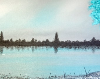 Moving On - Professional, Digital, Open Edition, Giclee Prints of my Original, Grey and Teal Fine Art Landscape of a Lakeside and Teal Trees