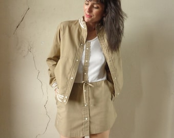 70s tennis dress & varsity jacket set/ khaki tennis skirt/ khaki varsity jacket/ Dashin Drawers// sm.med
