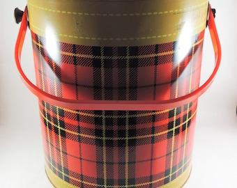 Vintage Skotch Kooler, 4 Gal Deluxe Red Plaid Picnic Cooler, Retro Plaid Cooler, Vintage 1950's Metal Plaid Cooler, Movie Prop, Retro Decor