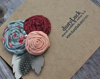 Pink Rustic Leather Rose Hair Clip // Recycled Leather Rose Pale Blue And Peach // Ready to Ship Hair Clip