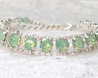 Mint Bridal Bracelet Mint Opal Mint Wedding Mint Bridesmaids Seafoam Green Mint Green Swarovski Crystal Mint Opal Silver Wedding Bracelet