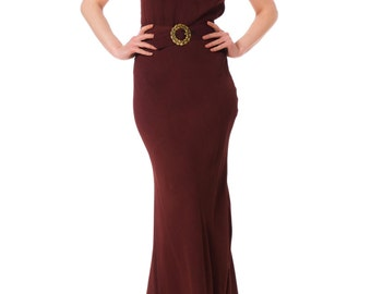 1930s Bias Cut Cut Out Back Evening Gown SIZE: S, 2-4