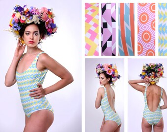 "One Piece Swimsuit Deep Cut  ""Russian Avant Garde Collection"" More patterns available!"