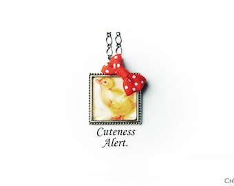 Chick necklace,little chicken necklace,yellow,pendant,jewelry,cute,unique,vintage picture,handmade,nature,farm,animal,red bow,love,gift