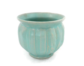 McCoy Jardineire #37 Turqouise Blue Porch Planter with Leaves around Base