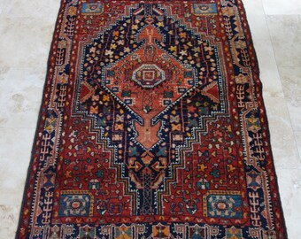 Vintage Kurdish Rug / 4 by 6 / Oushak / Boho / Rustic / Tribal / Village / Anatolian / Dowry Rug - 74 in x 51 in