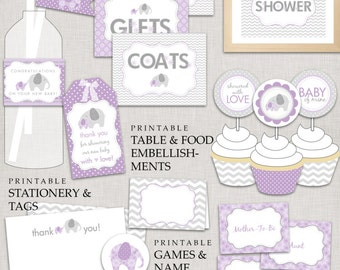 Purple Elephant Baby Shower / Lavender and Silver Grey / Girl Baby Shower / Instant Download DIY Printable PDF Party