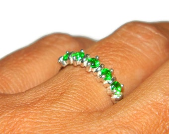 Sterling Silver Band, Ring With Green Stones, Anniversary Band, Band With Natural Stones