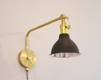 180 Degree Stocky Swivel Reading Lamp - Mid Century Style Lamp - Swing Arm Light - Ultimate Bedside Lamp - Brass Reading Light
