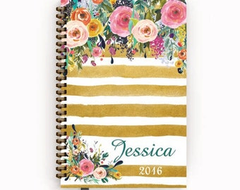 Planner Calendar 2016 2017 Agenda with Watercolor Floral on Tan Stripes