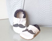 SALE - LAST PAIR 18-24 mos - mustache baby shoes mustache shoes mustache slippers black and white shoes baby mustache booties crib shoes