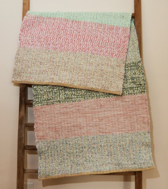 Hand Woven Rag Rug Scrappy Patchwork Cotton Rug Of Vintage