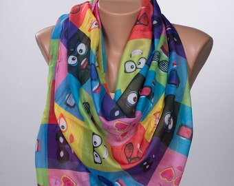 COLORFUL Happy Glasses Long Scarf. Valentine Neck wrap. Summer Scarf. Spring scarf for her. NEW SEASON.