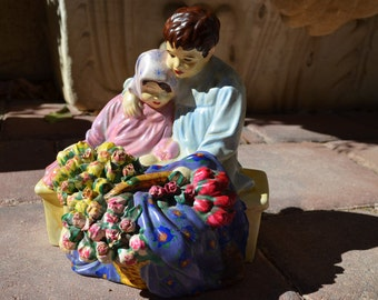 Vintage Japy Denver Hand-Painted Garden or Cemetery Statue, Girl and Boy with Flower Outdoor Statue, Siblings in Mourning, Sister & Brother