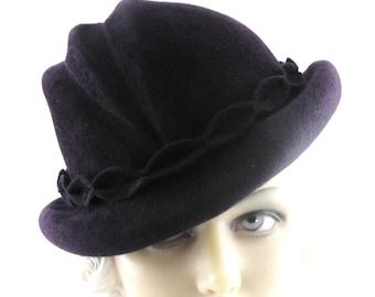 Womens Hat  Fedora Burgundy Fur Felt Velour Handmade Hat Church Mother of the Bride Cloche Derby Races Art Deco Custom Made for Each Client