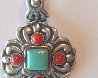 Vintage Sterling Silver Pendant ~ Chunky Southwestern ~ Glass Stones ~ Turquoise