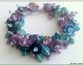 Fairy Garden Bracelet,Floral Bracelet,Floral jewelry,Czech Glass Flowers Bracelet,Handmade jewelry, Unique jewelry,Charm Flower Bracelet