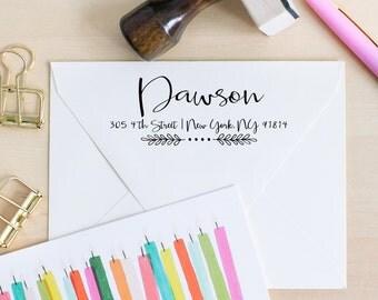Calligraphy Rubber Stamp, Return Address Stamp,  Wedding Stamp, Hand Lettered Stamp, Wedding Invitation Stamp, Custom Address Stamp - J2916