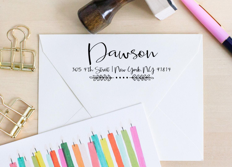 Calligraphy Rubber Stamp Return Address Stamp Wedding