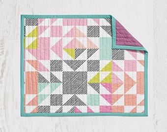 Coral Mint Neon Patchwork Crib Quilt Baby Quilt Wholecloth Quit Baby Blanket Crib Blanket Pink Aqua Coral Lime Bright Blanket