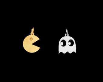 SALE Vermeil Pac Man or Sterling Silver Ghost Charm 13 mm Retro Gaming PacMan