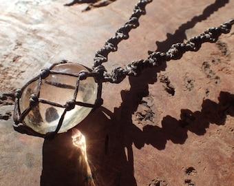 Stunning Natural Citrine Macrame Tribal Necklace