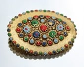 Millefiori Style Gold Coloured Painted Flowers Czech Brooch (c1930s)