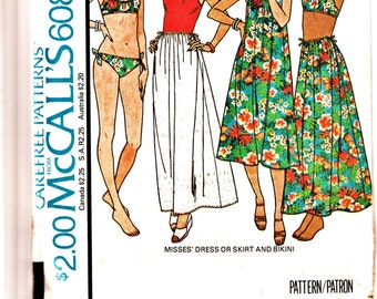 RARE 70's McCall's Pattern 6083 BoHo Bikini Sundress & Maxi Skirt Sz 6-8 Petite Partial Cut Unused Complete Resort Beach Wear Sewing Supply