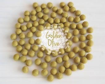 Wool Felt Balls - Size, Approx. 2CM - (18 - 20mm) - 25 Felt Balls Pack - Color Golden Olive-1030 - Felt Balls - Golden Color Felt Balls