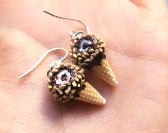 Drumstick Ice Cream Earrings, Ice Cream Earrings, Food Jewelry, Miniature Food, Clay Food, Ice Cream Jewelry, drumstick earrings