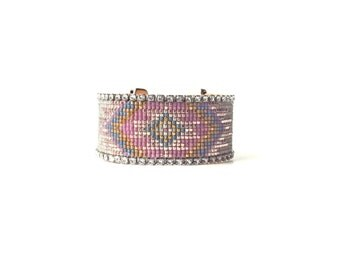 Wide beadloom bracelet - Tribal bead loom bracelet, friendship bracelet, loom bracelet, statement cuff, friendship cuff, geometric bracelet
