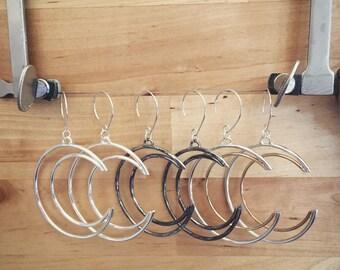 Hand Made Crescent Moon Hoop Earrings