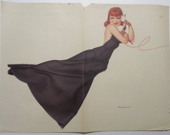 1930s 1940s George Petty centerfold pin up girl redhead from Esquire magazine Jean Parker Hurrell photograph