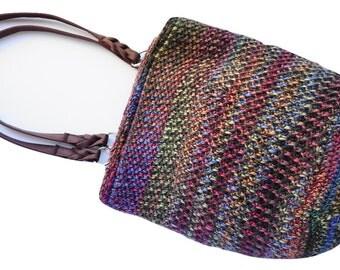Bag - Rainbow Crochet Bag Purse