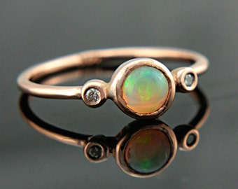 Opal and Diamond Gold Ring 14k Yellow White Rose Gold Natural Opal Diamond Gold Ring Made in Your Size Opal Engagement Ring